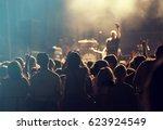 crowd at concert   cheering...   Shutterstock . vector #623924549