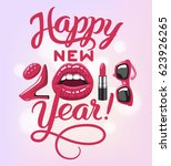 happy new 2018 year. woman... | Shutterstock .eps vector #623926265