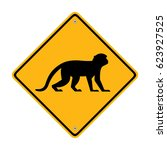 monkey sign. road sign. symbol  ... | Shutterstock .eps vector #623927525