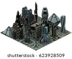 isometric futuristic sci fi... | Shutterstock . vector #623928509