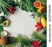 creative layout made of summer... | Shutterstock . vector #623929649