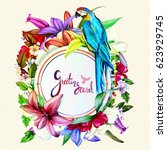 greeting card template with... | Shutterstock .eps vector #623929745