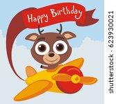happy birthday  funny deer...   Shutterstock .eps vector #623930021