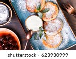 frying homemade cottage cheese... | Shutterstock . vector #623930999