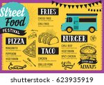 street food festival menu.... | Shutterstock .eps vector #623935919