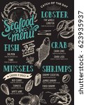 seafood menu for restaurant and ... | Shutterstock .eps vector #623935937