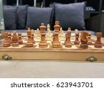 vintage wooden chess board with ...   Shutterstock . vector #623943701