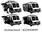 set of mobile shops  vans  food ... | Shutterstock . vector #623943899