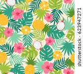 tropical seamless pattern with... | Shutterstock .eps vector #623947271