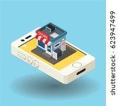 mobile shopping flat vector... | Shutterstock .eps vector #623947499