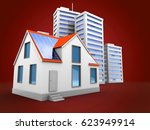 3d illustration of city over... | Shutterstock . vector #623949914