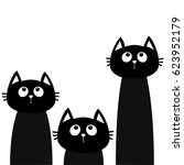 three black cat set looking up. ... | Shutterstock .eps vector #623952179