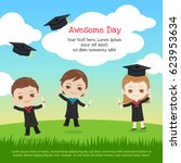 kids graduation day with boy... | Shutterstock .eps vector #623953634