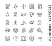 thin line icons set   law and... | Shutterstock .eps vector #623957285