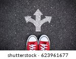 Red Sneakers With Arrow Symbol...