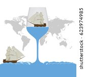 flat design ship in a glass | Shutterstock .eps vector #623974985
