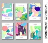 creative artistic cards set....   Shutterstock .eps vector #623981024