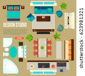 design studio concept with top... | Shutterstock .eps vector #623981321