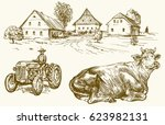 farm  country village  tractor... | Shutterstock .eps vector #623982131