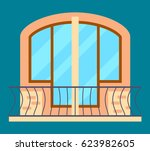 modern residential window with... | Shutterstock .eps vector #623982605