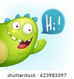 cartoon cheerful monster waving ... | Shutterstock .eps vector #623983397