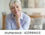 portrait of blond senior woman... | Shutterstock . vector #623984615