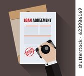 loan agreement with approved... | Shutterstock .eps vector #623986169