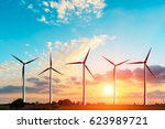 wind generators under blue sky... | Shutterstock . vector #623989721