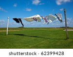 Stock photo wet laundry drying on clothes line against a blue sky 62399428