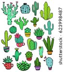 set of isolated colorful cactus ... | Shutterstock .eps vector #623998487