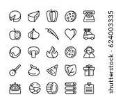 icon set for pizzeria.... | Shutterstock .eps vector #624003335