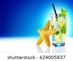 tropical cocktail and starfish... | Shutterstock . vector #624005837