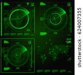 green radar screen on black... | Shutterstock .eps vector #624007355