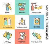 icons for cleaning rooms. and... | Shutterstock .eps vector #624019091