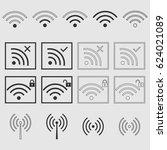wifi signal icon set | Shutterstock .eps vector #624021089
