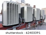 a row of air conditioning units ... | Shutterstock . vector #62403391