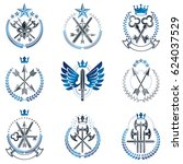vintage weapon emblems set.... | Shutterstock . vector #624037529