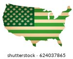 usa map as green flag with... | Shutterstock .eps vector #624037865
