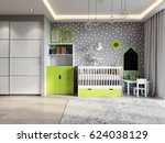 bright and cozy children's room ...   Shutterstock . vector #624038129