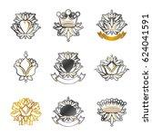 royal symbols  flowers  floral... | Shutterstock . vector #624041591