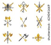 vintage weapon emblems set.... | Shutterstock . vector #624041669