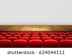 rows of red cinema or theater... | Shutterstock .eps vector #624044111