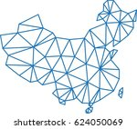 blue polygon outline china map...   Shutterstock .eps vector #624050069