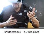 businessman wearing virtual... | Shutterstock . vector #624061325
