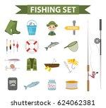 fishing icon set  flat  cartoon ... | Shutterstock .eps vector #624062381