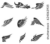 wings vector icons set. wing... | Shutterstock .eps vector #624063935