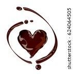 chocolate heart  vector  | Shutterstock .eps vector #624064505