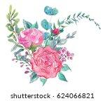 watercolor beautiful floral... | Shutterstock . vector #624066821