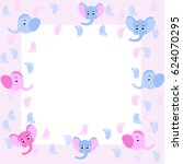 pink and blue elephants and ... | Shutterstock .eps vector #624070295