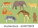 wild animals at the zoo | Shutterstock .eps vector #624073829
